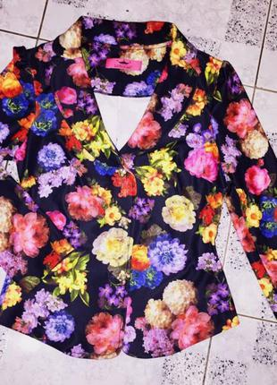 Яркий цветочный пиджак s just rich class (цветной принт ,чёрный )