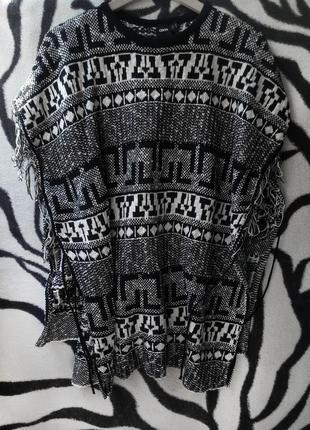 Пончо накидка кардиган плед asos  модный принт жилетка 38 40 36 с м л 8 10 12 черная белая