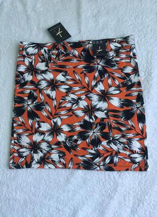 Обтягивающая юбка цветочный принт uk8-10