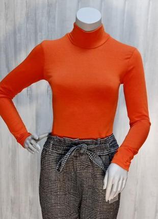 Гольф водолазка утепленная женская для девушек на флисе оранжевого цвета