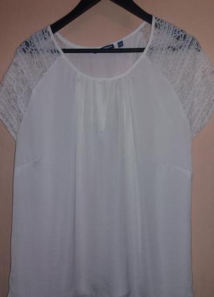 Шелковая брендовая блуза с кружевным рукавом размер xl - xxxl