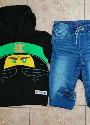Стильный комплект: красивая кофта модная кофточка худи ниндзя и джинсы