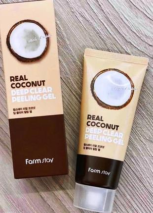 Farmstay real coconut deep clear peeling gel пилинг-скатка с кокосом farm stay 100мл
