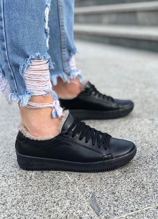 Натуральная кожа! стильные женские кроссовки зимние на меху