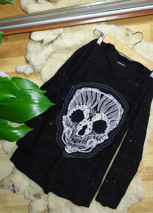 Черный свитер пайетка пайетки джемпер свитшот