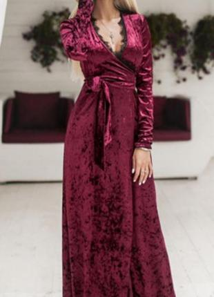 Длинное платье бархат велюр