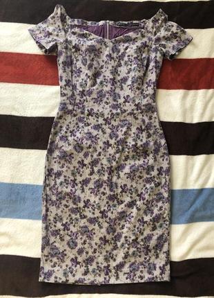 Платье zara сиреневое с серым 42-46 размер, тянется