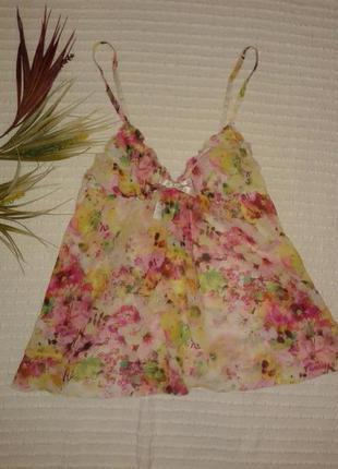Красивая бельевая для сна майка на бретелях в цветочный принт от h&m,p.s
