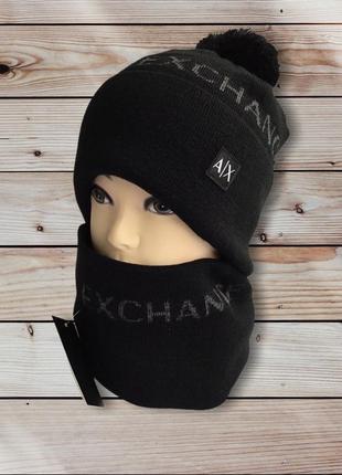 Мужская шапка шапочка и бафф комплект armani exchange