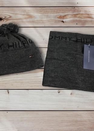 Мужская вязаная шапка шапочка и бафф комплект tommy hilfiger
