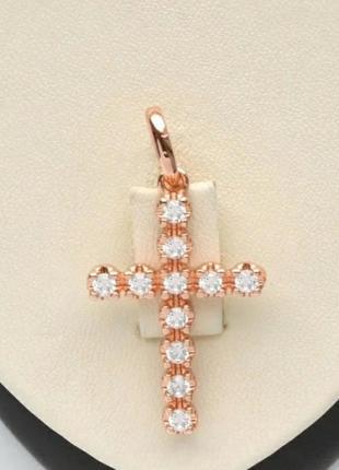 Крестик с цирконами