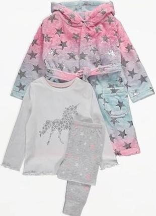 Теплый комплект (плюшевый халат + пижама george  2...14 лет в наличии