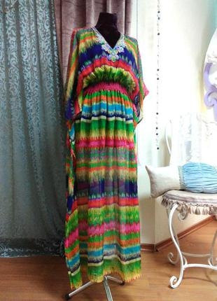 Шелковое платье с вышивкой, парэо, накидка на купальник, монако