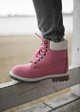 Зимние женские ботинки на меху timberland розовые (тимберленд, черевики)