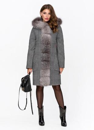 Шикарное зимнее женское серое пальто оверсайз в клетку гусиная лапка с натуральным мехом