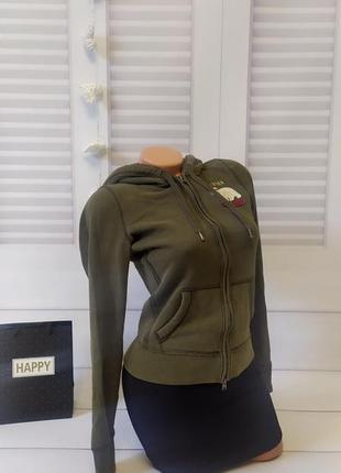 Толстовка с капюшоном тёплая свитшот свитер кофта джемпер пуловер хаки, s