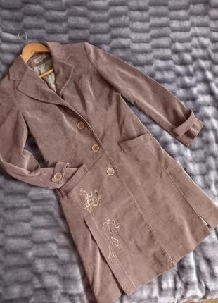 Вельветовый длинный жакет, пальто-жакет, пиджак, блейзер