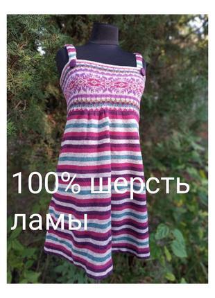 Moda international 100% шерсть овцы в полоску принт снежинки платье сарафан домашнее
