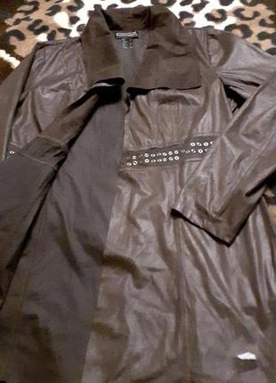 Кардиган тренч коричневый шоколадный пиджак удлинённый