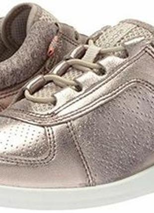 Кроссовки кожаные серебристо-бронзового цвета ecco 38 р.