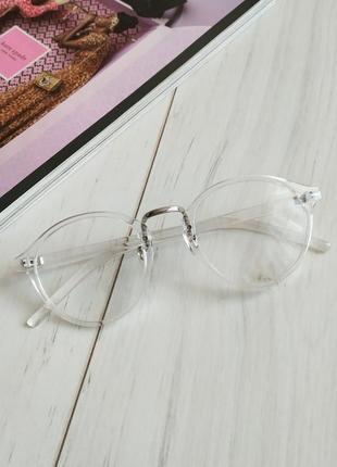 Очки имиджевые в прозрачной оправе, прозрачные очки