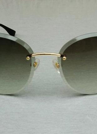 Salvatore ferragamo очки женские солнцезащитные безоправные зеленые с градиентом