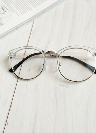 Очки имиджевые в прозрачной оправе, очки прозрачные лисички