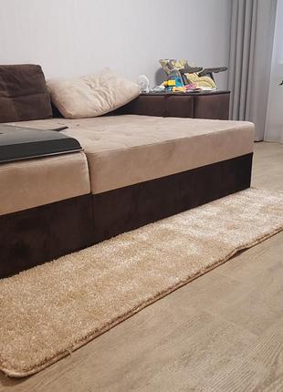 Ковролин ковровая дорожка готовая коврик теплый меховой бежевый бельгия