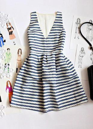 Платье в полоску в морском стиле с открытой спиной
