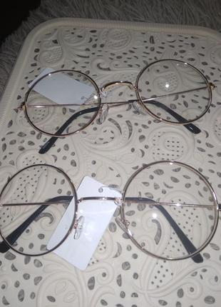 Новые стильные очки стекла нулевки круглые