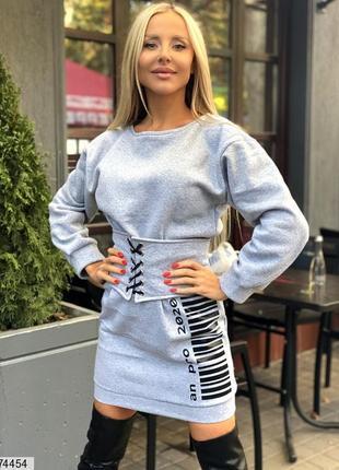 Платье на флисе с поясом-корсетом