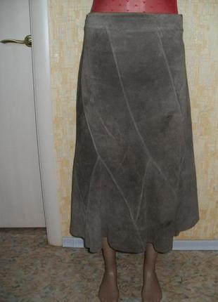 Юбка фирменная из натуральной замши цвет античная латунь кожаная юбка юбка замшевая юбка