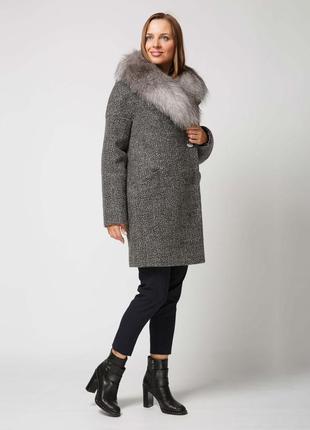 Шикарное женское зимнее пальто с натуральным мехом