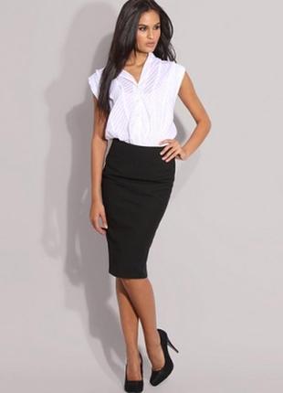 Базовая миди юбка-карандаш, офисная черная юбка