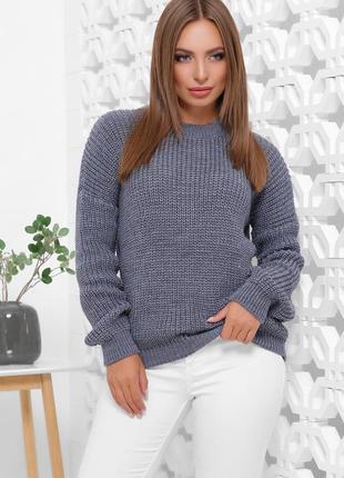 Стильный свитер джинсового цвета