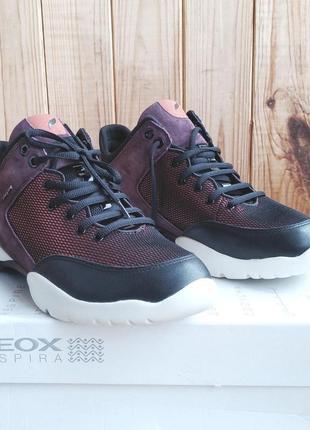 Стильные кожаные кроссовки удобные дышащие хайтопы geox sfinge оригинал