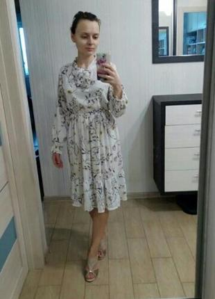 Белое платье цветочный принт біла сукня квіти плаття принт6 фото