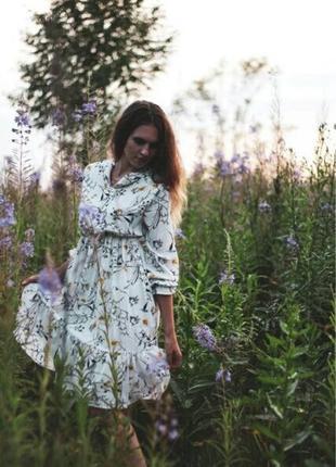 Белое платье цветочный принт біла сукня квіти плаття принт7 фото