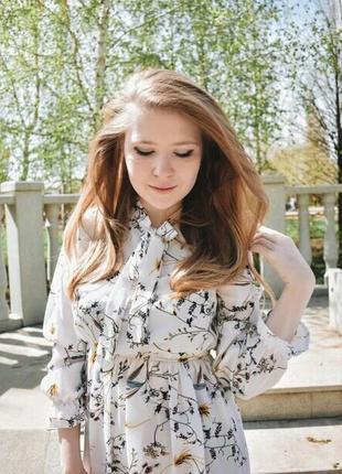 Белое платье цветочный принт біла сукня квіти плаття принт8 фото