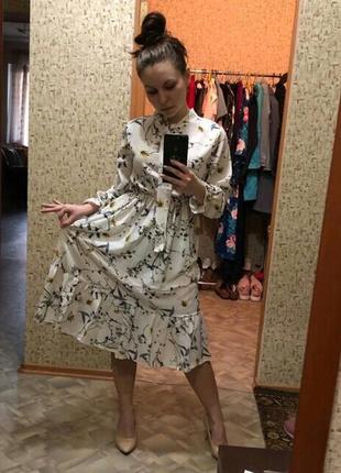 Белое платье цветочный принт біла сукня квіти плаття принт4 фото