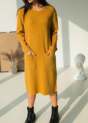 Бомбовское свободное тёплое платье миди трикотаж оверсайз длинный рукав пуговицы