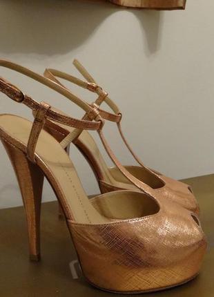 Giuseppe zanotti оригинал!! вечерние металлик туфли цвета меди босоножки 39 размер