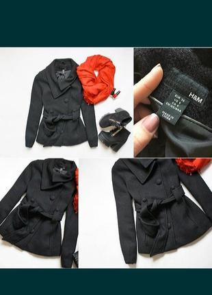 Пальто демисезонное букле с широким поясом укороченное