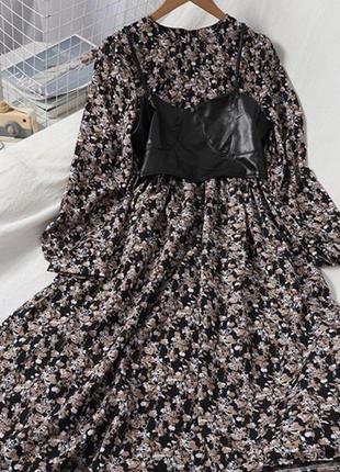 Платье миди с цветочным принтом со съёмным топом бюстье