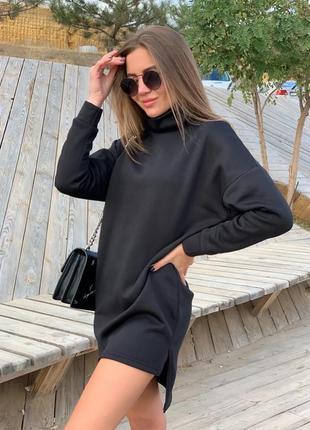 Короткое платье-туника чёрное