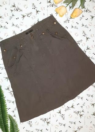 🎁1+1=3 модная юбка с карманами хаки estelle, размер 50 - 52