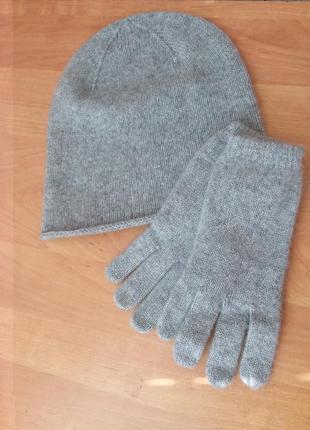 Кашемировая шапочка mango с перчатками