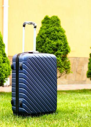 Чемодан средний синий качество! польша! валіза пластикова синя доставка!