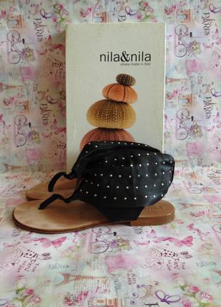 Кожаные босоножки,сандали,  с заклёпками, дорогой бренд/36/nila&nila/италия