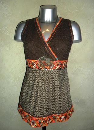 Этичная хлопковая с вышивкой коричневая блуза туника рубашка debenhems xs-m 12